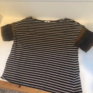 Anthro striped tee with boxy silhouette